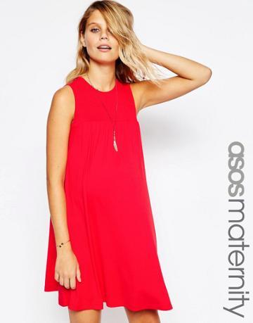 Asos Maternity Sleeveless Swing Dress With Smocking Detail - Red
