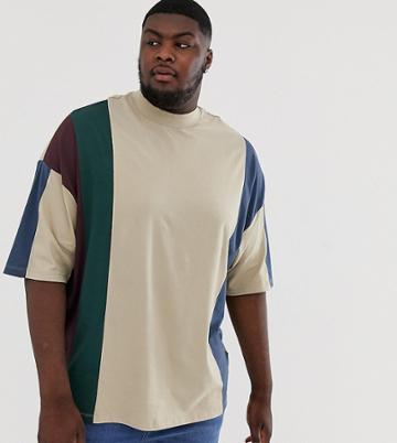 Asos Design Plus Organic Oversized Longline T-shirt In Vertical Color Block In Beige - Beige