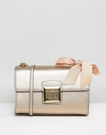 Aldo Cross Body Bag With Chain Strap And Bow Detail In Gold - Gold