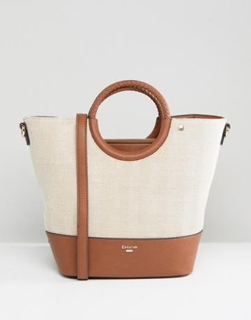 Dune Contrast Bucket Tote Bag - Tan