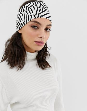Asos Design Wide Headband With Ties In Mono Geo Print - Multi
