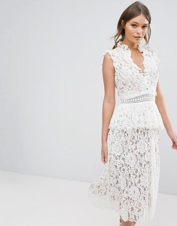 True Decadence Lace Dress With Ruffle Neck - White