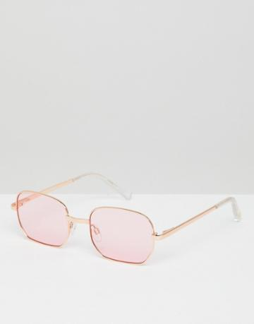 Le Specs The Flash Square Sunglasses In Rose Gold - Gold