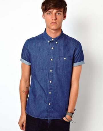 Asos Denim Shirt In Short Sleeve