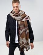 Asos Geo-tribal Blanket Scarf In Brown - Brown