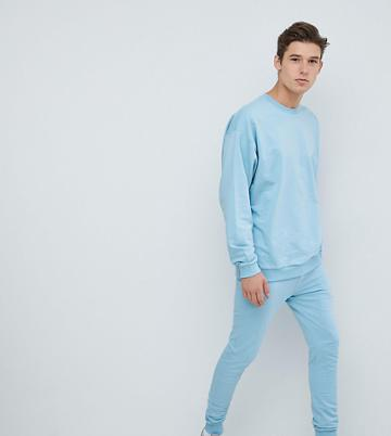 Asos Design Tall Tracksuit Oversized Sweatshirt/super Skinny Joggers In Sky Blue - Red