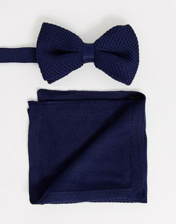 Asos Design Knitted Bow Tie In Navy & Pocket Square - Navy