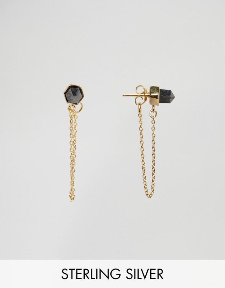 Asos Gold Plated Sterling Silver Rock Chain Earrings - Gold