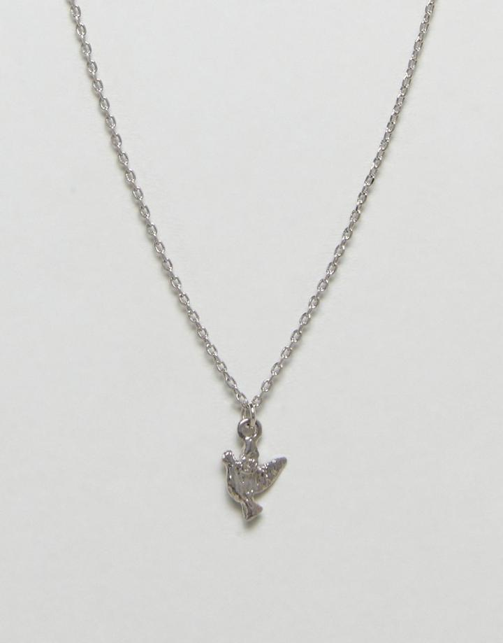 Nylon Bird Necklace - Silver