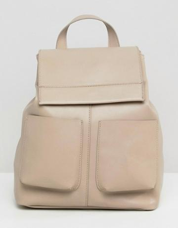 Asos Design Slouchy Backpack With Oversized Pockets - Gray