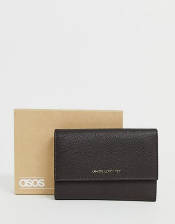 Asos Design Leather 2-in-1 Wallet And Cardholder Set In Brown