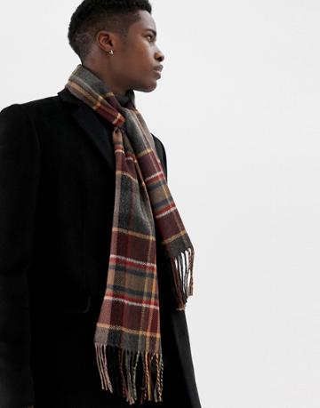 Moss London Scarf In Burgundy Check - Red