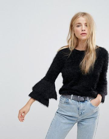 New Look Tiered Sleeve Knit Sweater - Black