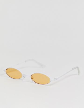 Asos Design Metal Narrow Oval Sunglasses In White With Orange Lens - White
