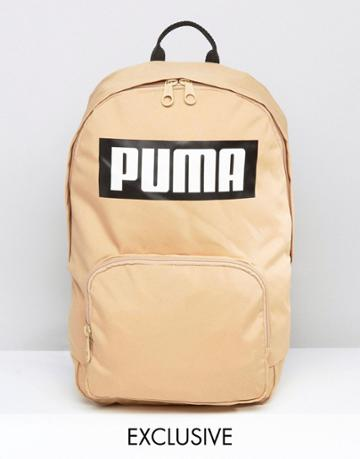 Puma Logo Backpack In Sand Exclusive To Asos - Tan