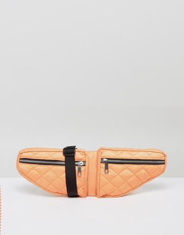Asos Lifestyle Double Pouch Quilted Fanny Pack - Orange