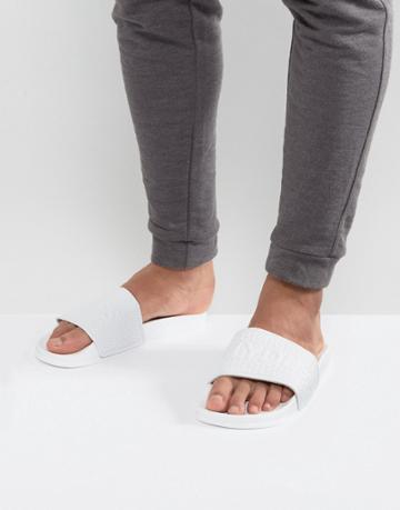 Slydes Cali Logo Slider Flip Flops - White