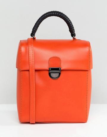 Asos Design Leather Push Lock Lid Cross Body - Orange