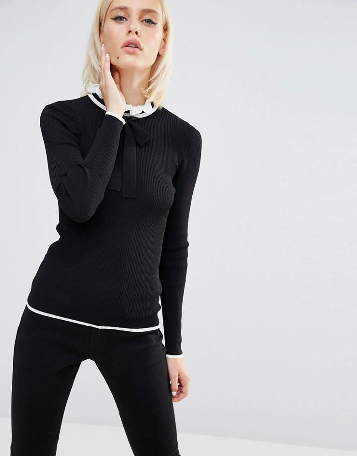 Lost Ink Fitted Sweater With Tie Neck Detail - Black