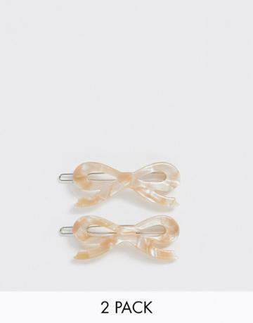 Margherita Caramel Resin Bow Hair Clips - 2 Pack - Brown