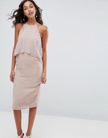 Asos Pearl Embellished Crop Top Midi Pencil Dress - Pink