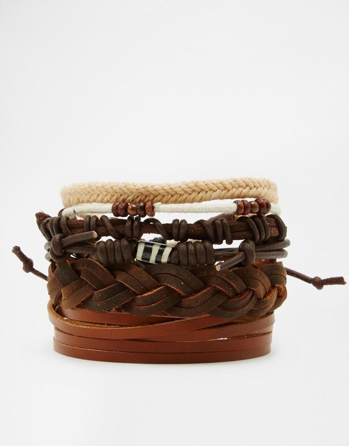 Asos Leather Bracelet Pack In Brown - Brown