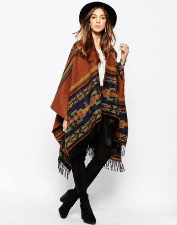 Kiboots Reversible Wool Mix Fringe Cape - Orange