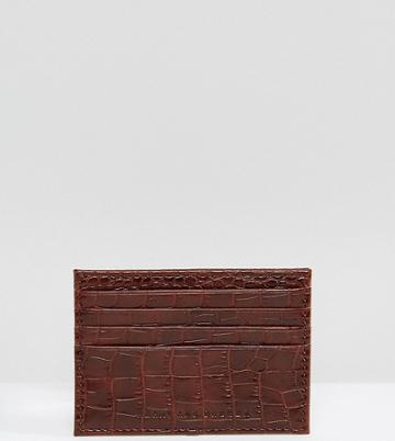 Heart & Dagger Croc Faux Leather Card Holder - Brown