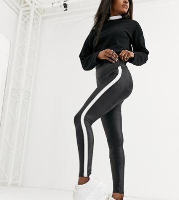 Spanx Faux Leather Side Stripe Legging-black