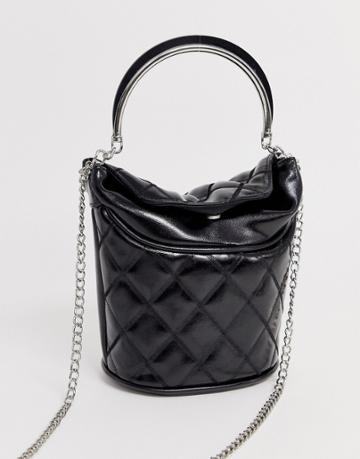 Stradivarius Bucket Bag In Black - Black