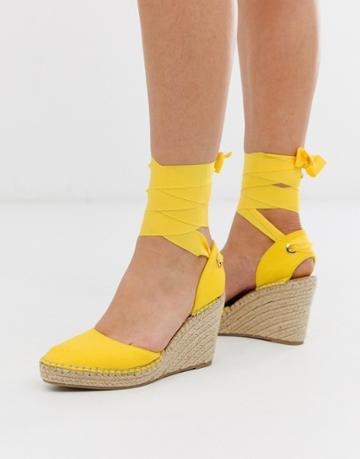 Asos Design Jaylen Espadrille Wedges In Yellow - Yellow