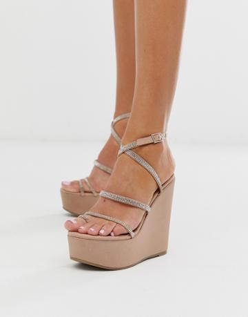 Asos Design Tantalize Toe Loop Embellished Wedges In Nude - Pink
