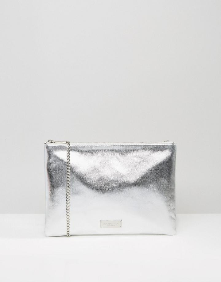 Carvela Metallic Clutch Bag With Optional Cross Body Strap - Silver