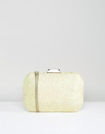Chi Chi London Box Clutch Bag In Premium Lace - Yellow