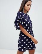 Ax Paris Polka Dot Shift Dress - Navy
