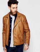 Asos Faux Leather Biker Jacket In Tan - Brown