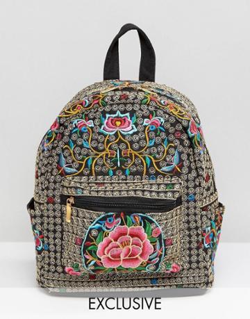 Reclaimed Vintage Ornate Embroidered Backpack - Black