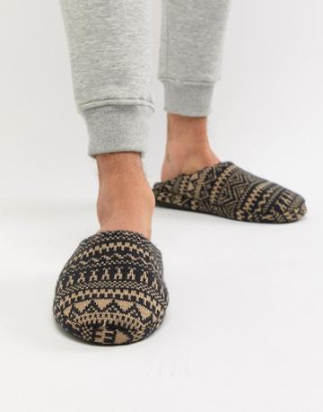 New Look Mule Slippers With Fleece Lining In Fairsle Print - Navy