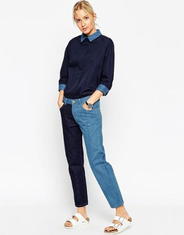 Asos White Double Panel Jeans - Blue