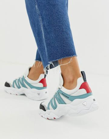 Skechers D'lite Chunky Sneakers 3.0 Overlay In White And Blue - White