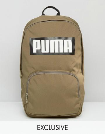 Puma Logo Backpack In Khaki Exclusive To Asos - Green