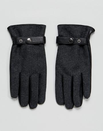Asos Leather Gloves In Gray Herringbone - Gray