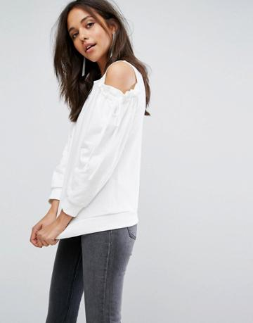 Evidnt Cold Shoulder Tie Sweatershirt - White