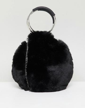 New Look Round Fur Bag - Black