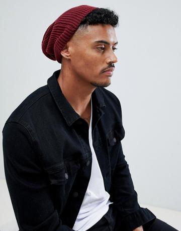 Asos Slouchy Beanie In Burgundy Recycled Polyester - Red