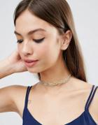 Asos Metal Tattoo Choker Necklace - Gold