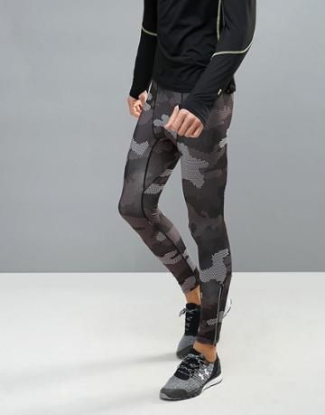 New Look Sport Running Tights In Black Camo - Black