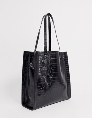 Asos Design Croc Shopper With Laptop Compartment-black