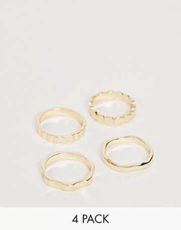 Asos Design Pack Of 4 Rings In Mixed Texture Designs In Gold Tone - Gold