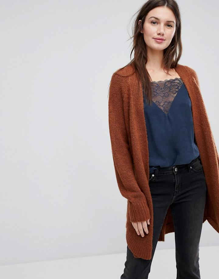 Vila Cable Knit Cardigan - Brown